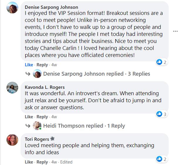 vip networking testimonials